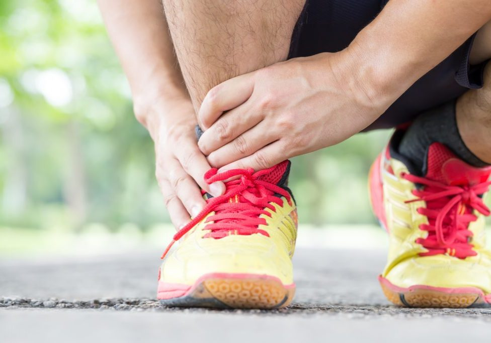 Sports injury. Pain in ankle while jogging
